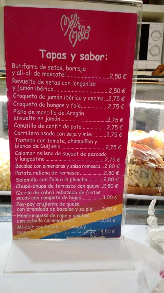 meli melo carta menu zaragoza spain españa saragossa
